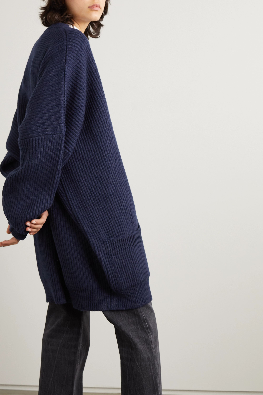 Vetements Oversized crystal-embellished ribbed wool cardigan