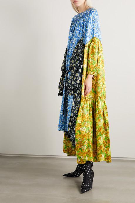 Draped floral-print jacquard and satin-twill midi dress