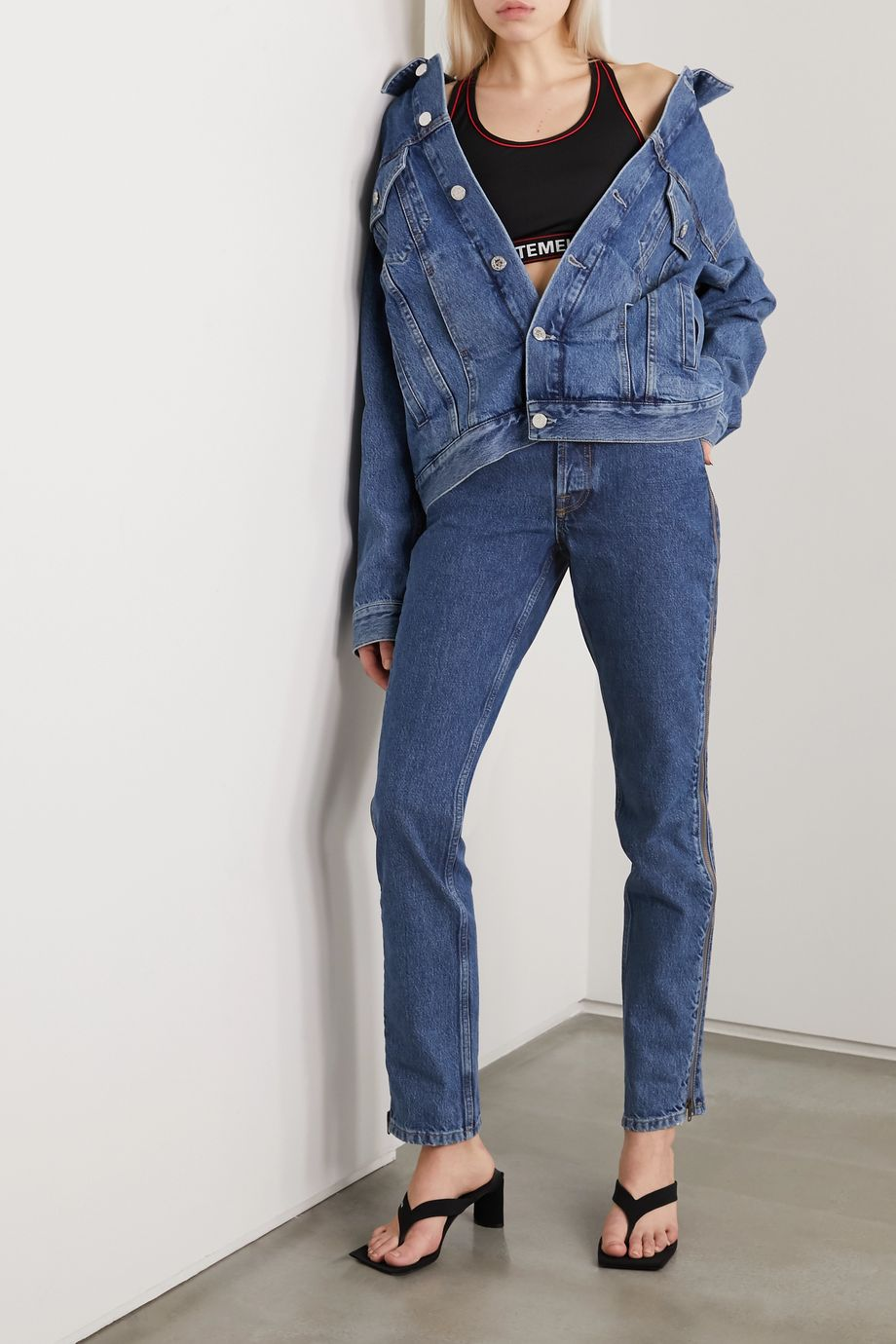 Vetements Zip-embellished mid-rise straight-leg jeans