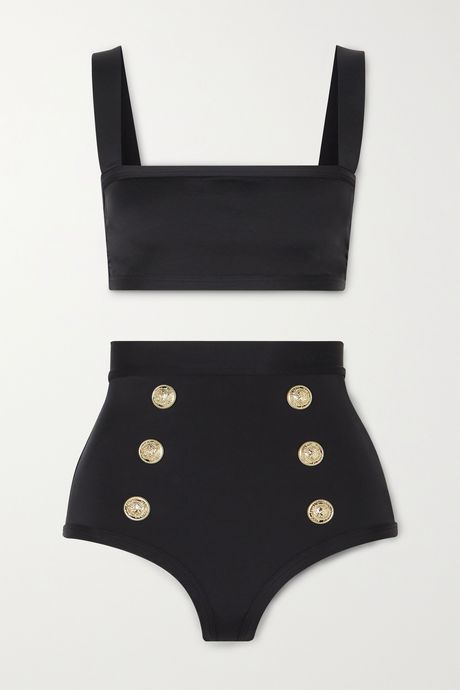 Black Button-embellished bikini | Balmain 8QENBU