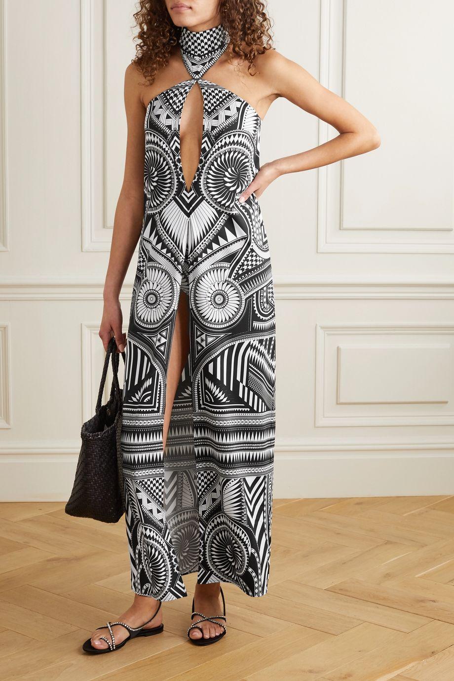 Balmain Cut-out stretch-crepe halterneck maxi dress