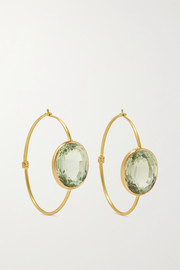 Marie-Hélène de Taillac Chimene 22-karat gold quartz hoop earrings