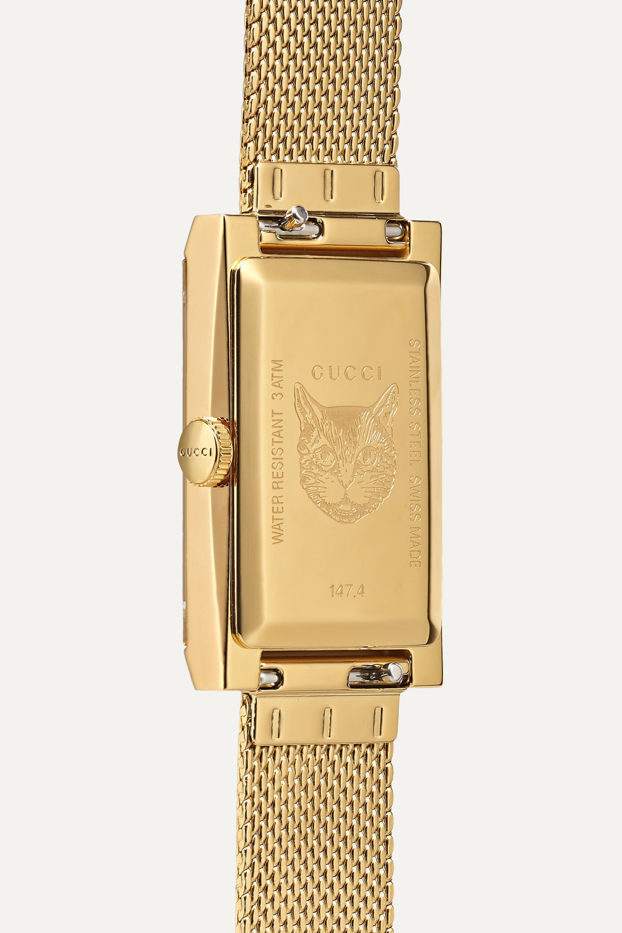 Gucci G-Frame 21mm PVD-plated and mother-of-pearl watch