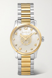 Gucci G-Timeless 27mm stainless steel and PVD-plated mother-of-pearl watch