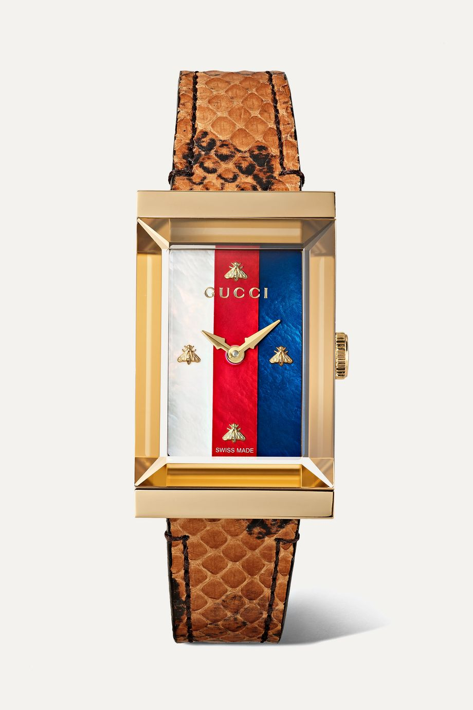 Gucci G-Frame 21mm PVD-plated, ayers and mother-of-pearl watch