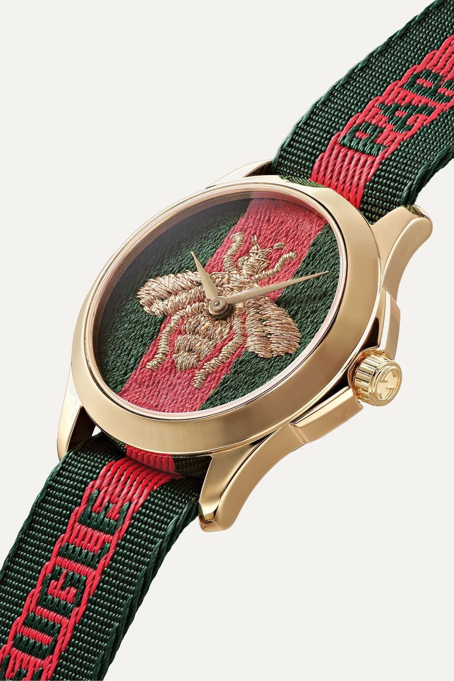 Gucci Le Marché des Merveilles 38mm PVD-plated and striped canvas watch