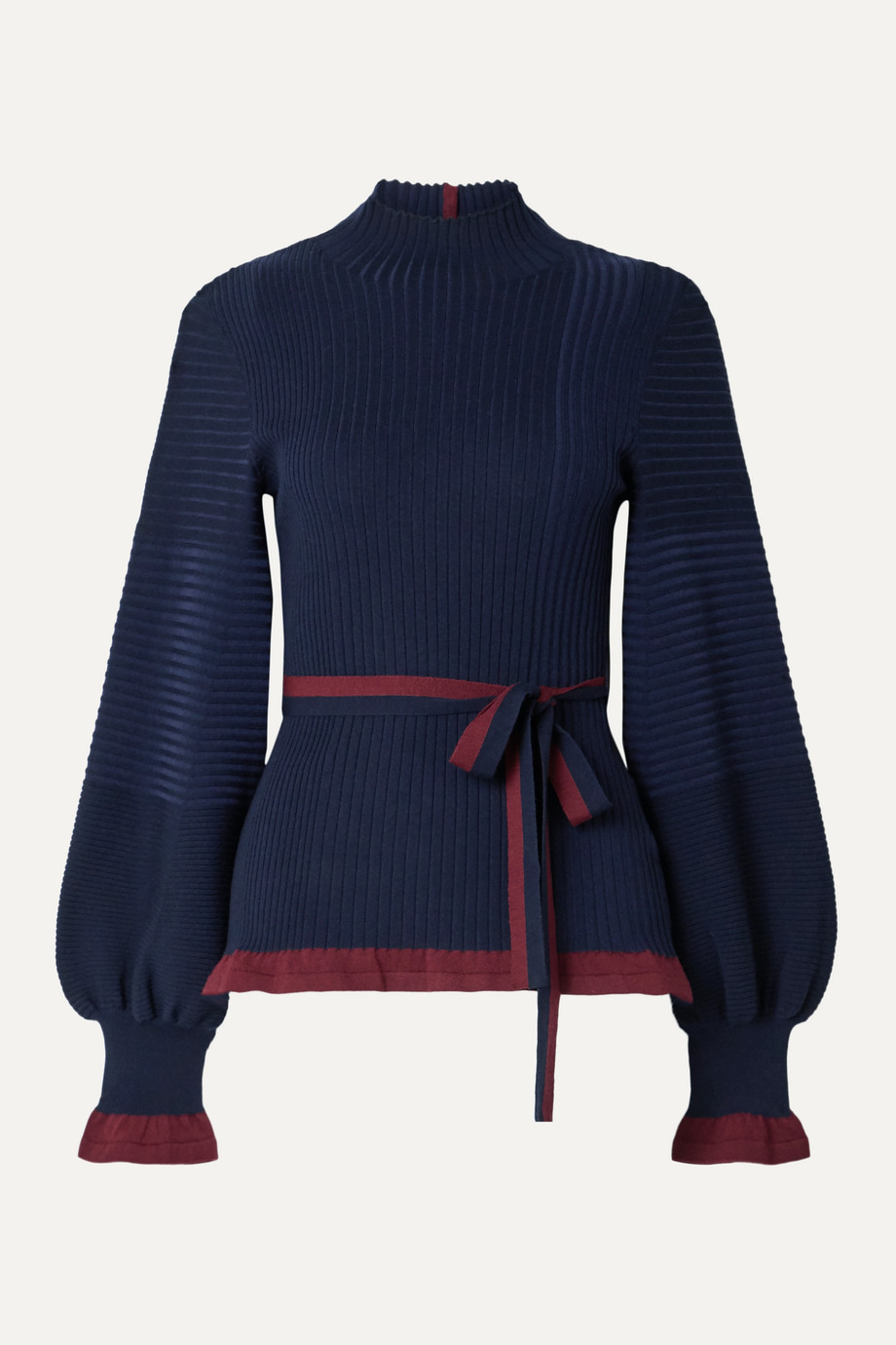 Roksanda Auric belted ribbed merino wool turtleneck sweater
