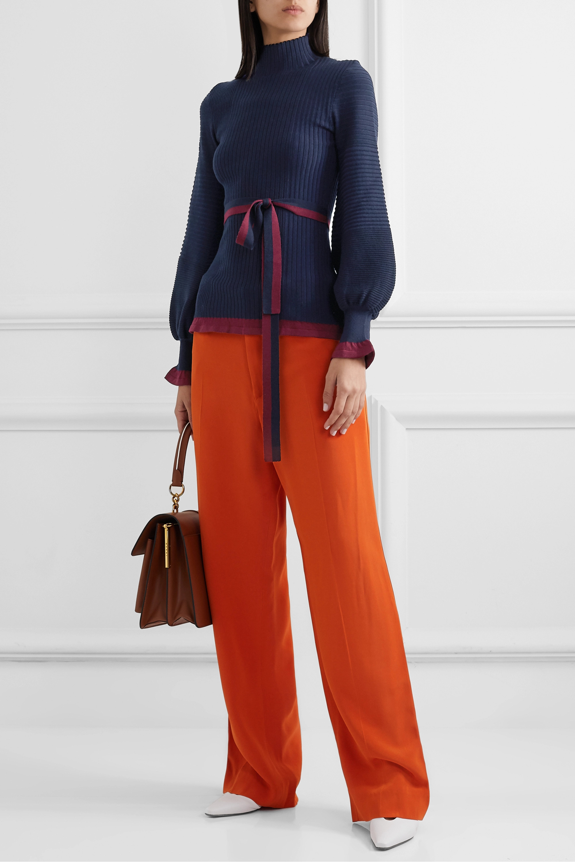 Roksanda Auric belted ribbed merino wool turtleneck sweater