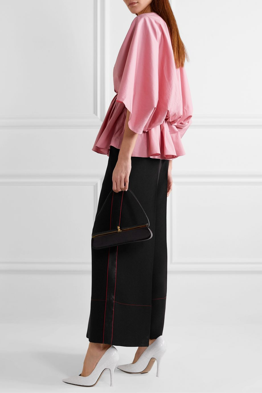 Roksanda Hasani satin-trimmed cady and cotton wide-leg pants