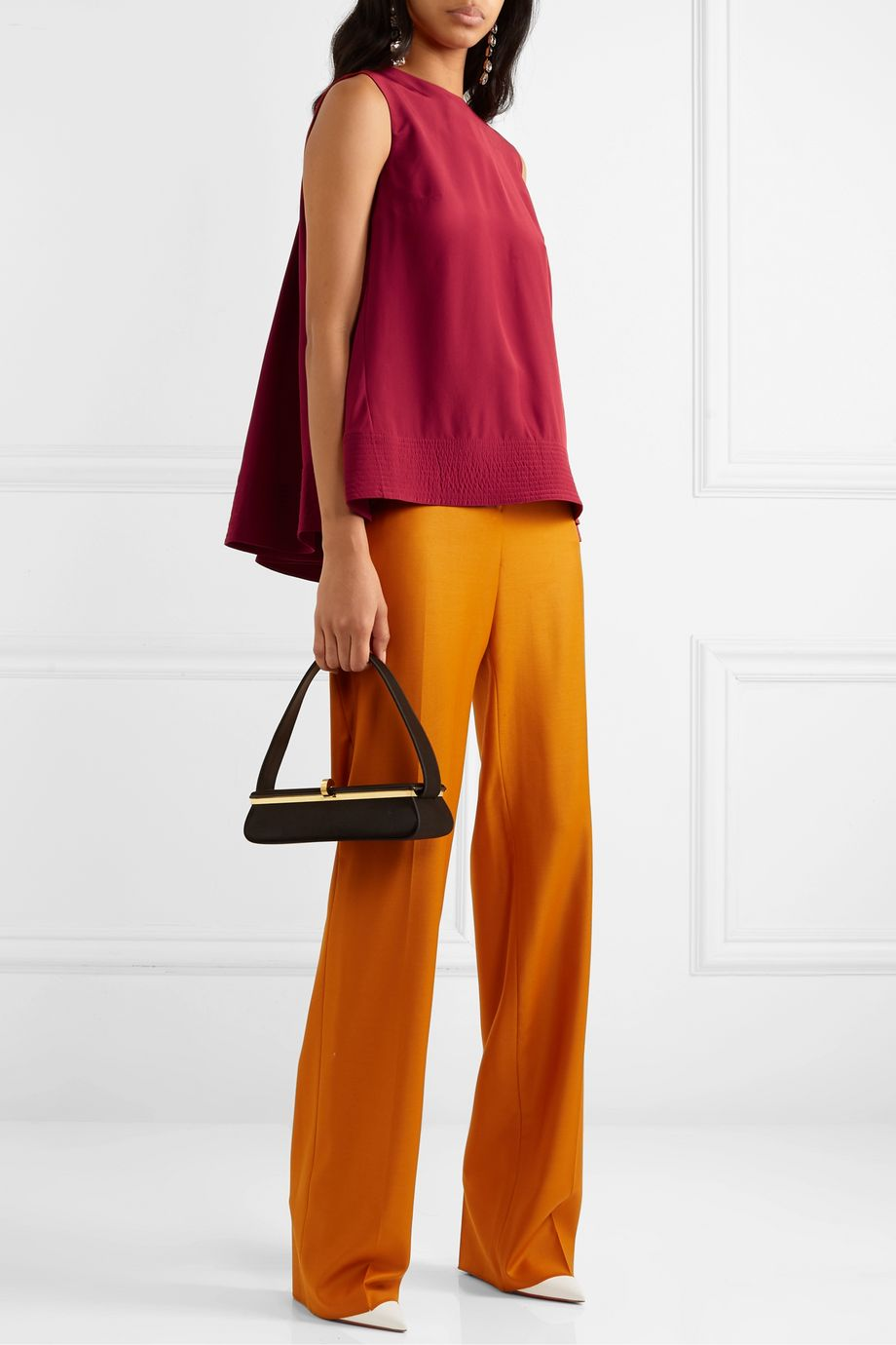 Roksanda Leya pleated silk-crepe top