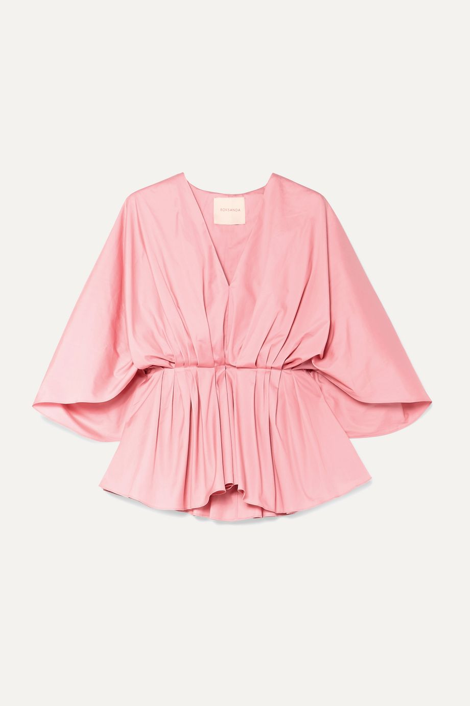 Roksanda Aniya pleated cotton-poplin peplum blouse