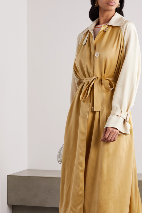 Akuta two-tone silk-gabardine and cupro trench coat