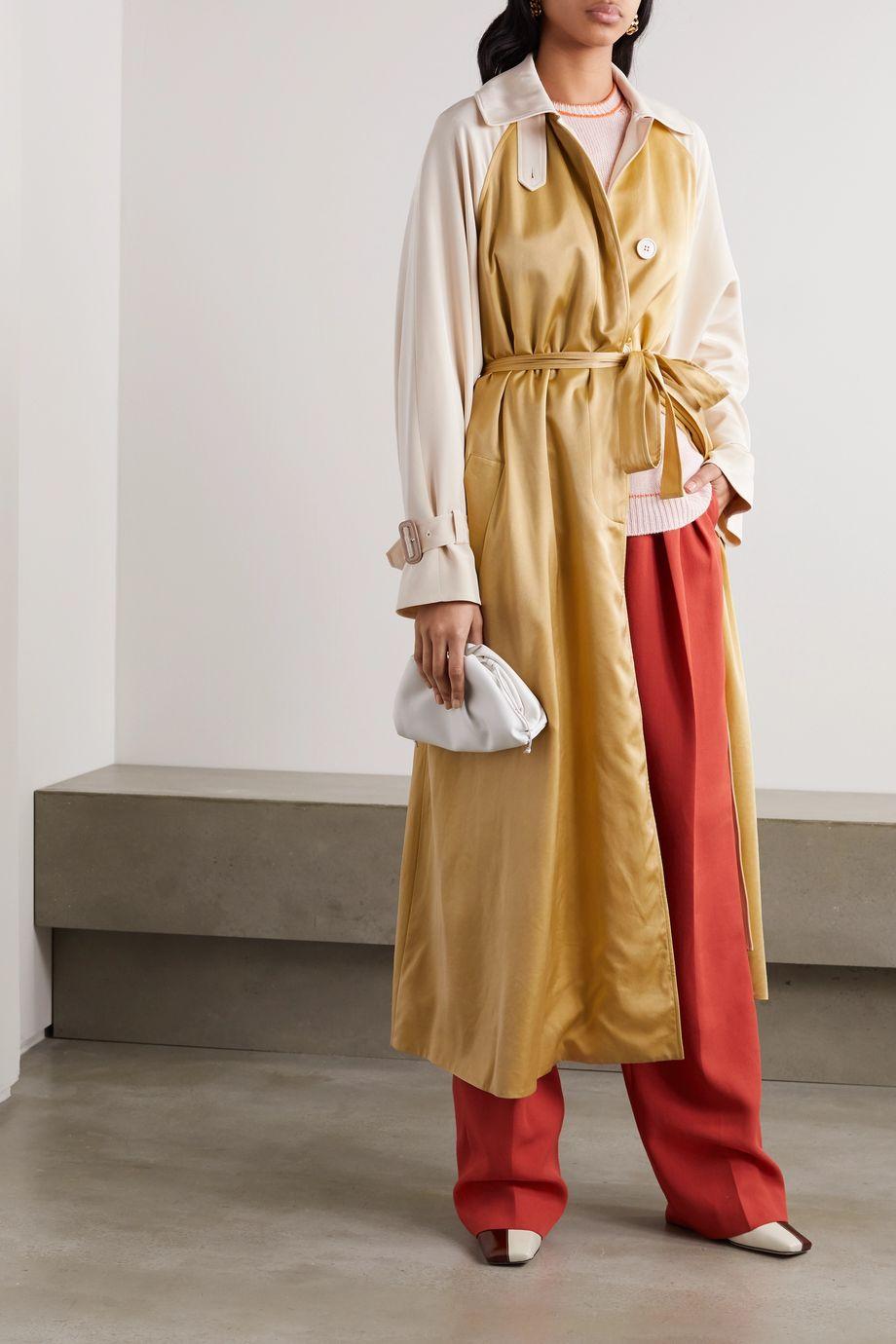 Roksanda Akuta two-tone silk-gabardine and cupro trench coat