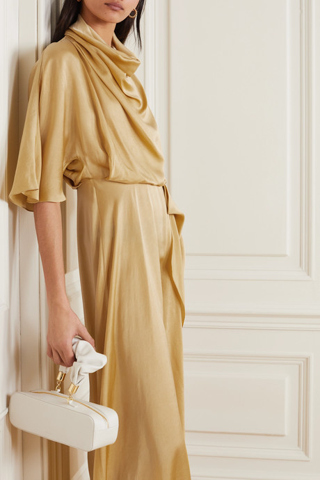Senja asymmetric draped hammered-satin dress