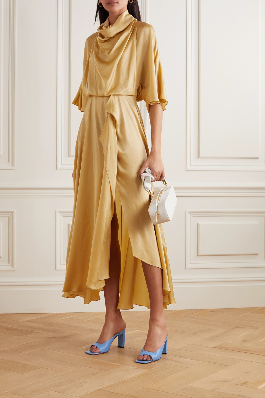 Roksanda Senja asymmetric draped hammered-satin dress