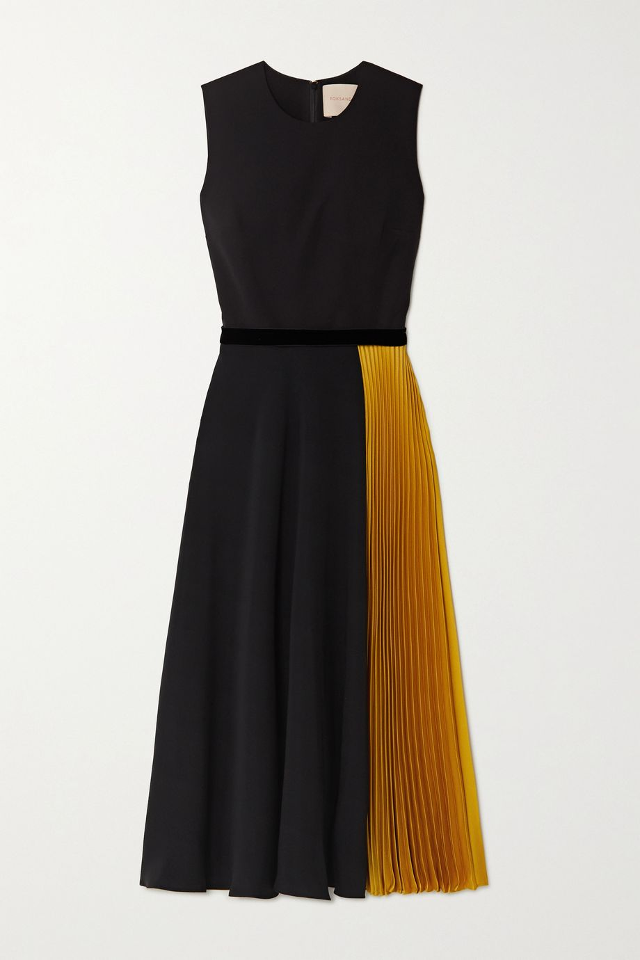 Roksanda Zahida color-block velvet-trimmed georgette and silk-satin midi dress