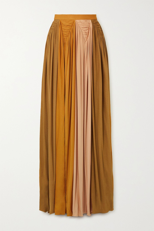 Roksanda Adina pleated color-block jersey maxi skirt