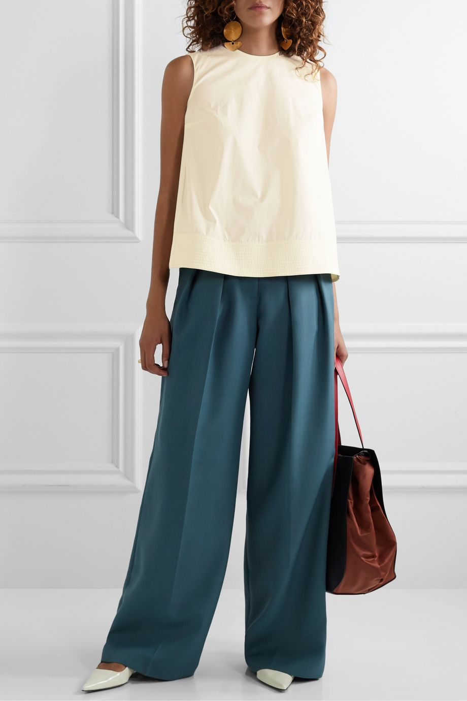 Roksanda Leya oversized pleated cotton-poplin top