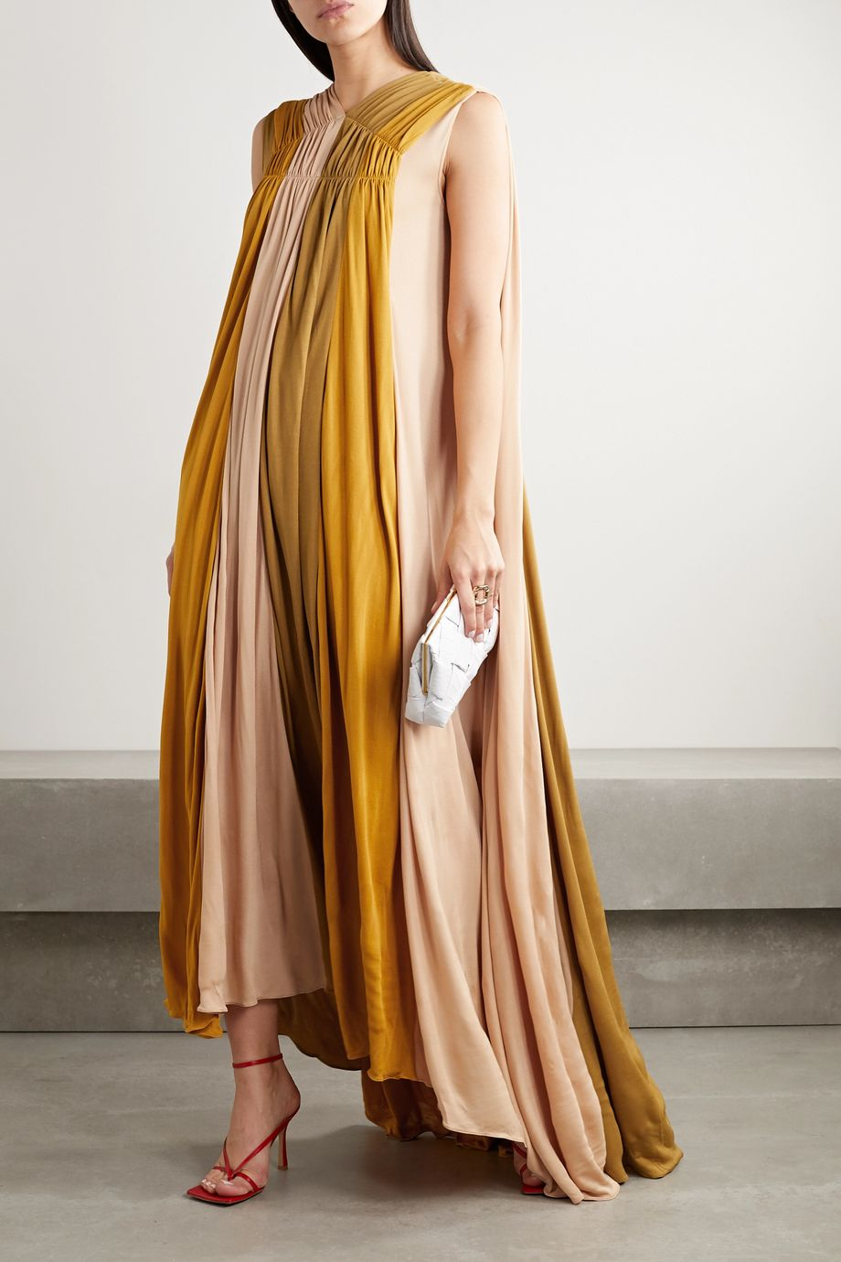 Roksanda Padma gathered color-block jersey gown