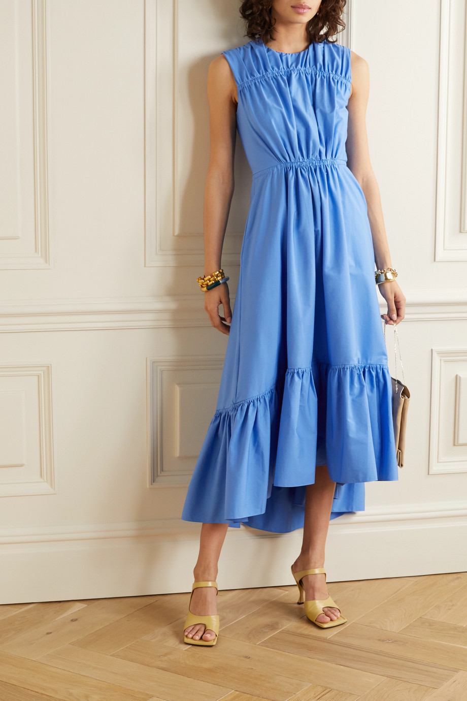 Roksanda Lucia gathered tiered cotton-poplin midi dress