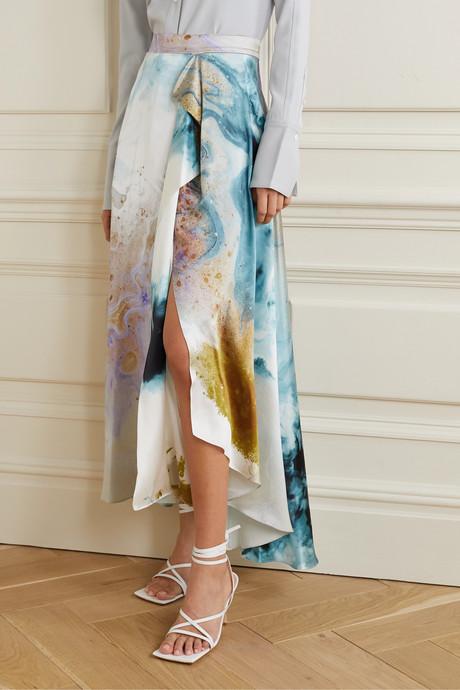 Zinja asymmetric draped printed silk-satin skirt