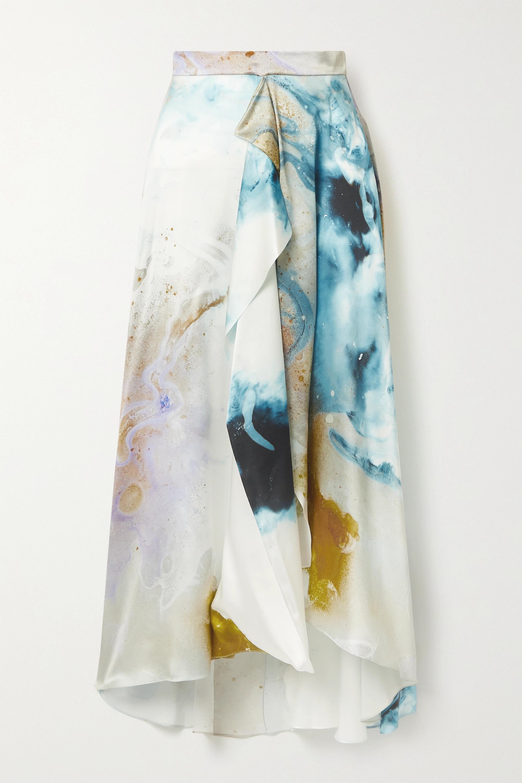 Roksanda Zinja asymmetric draped printed silk-satin skirt