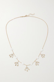 Shaker 14-karat gold, moonstone and diamond necklace
