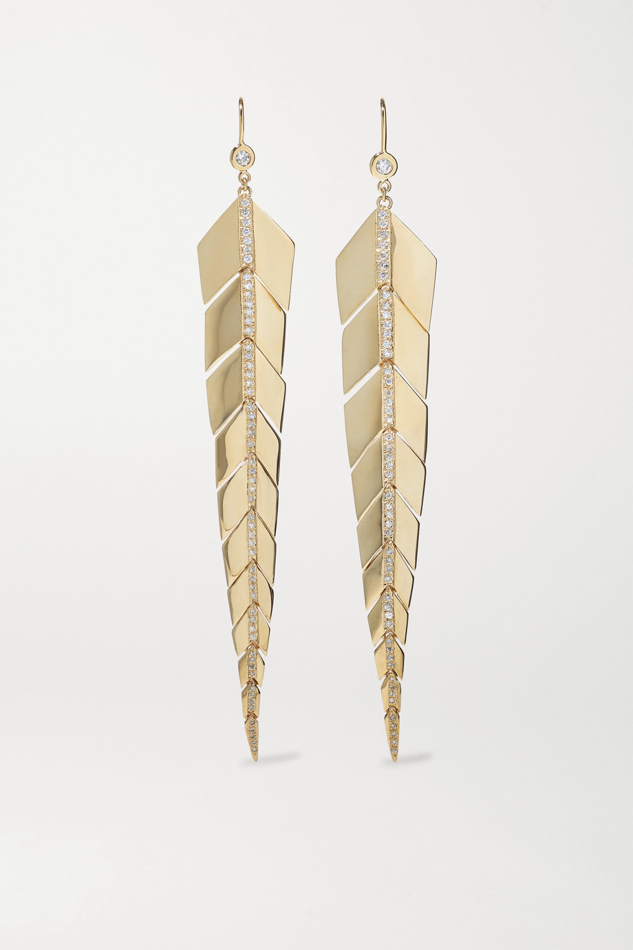Jacquie Aiche Medium Fishtail Ohrringe aus 14 Karat Gold mit Diamanten