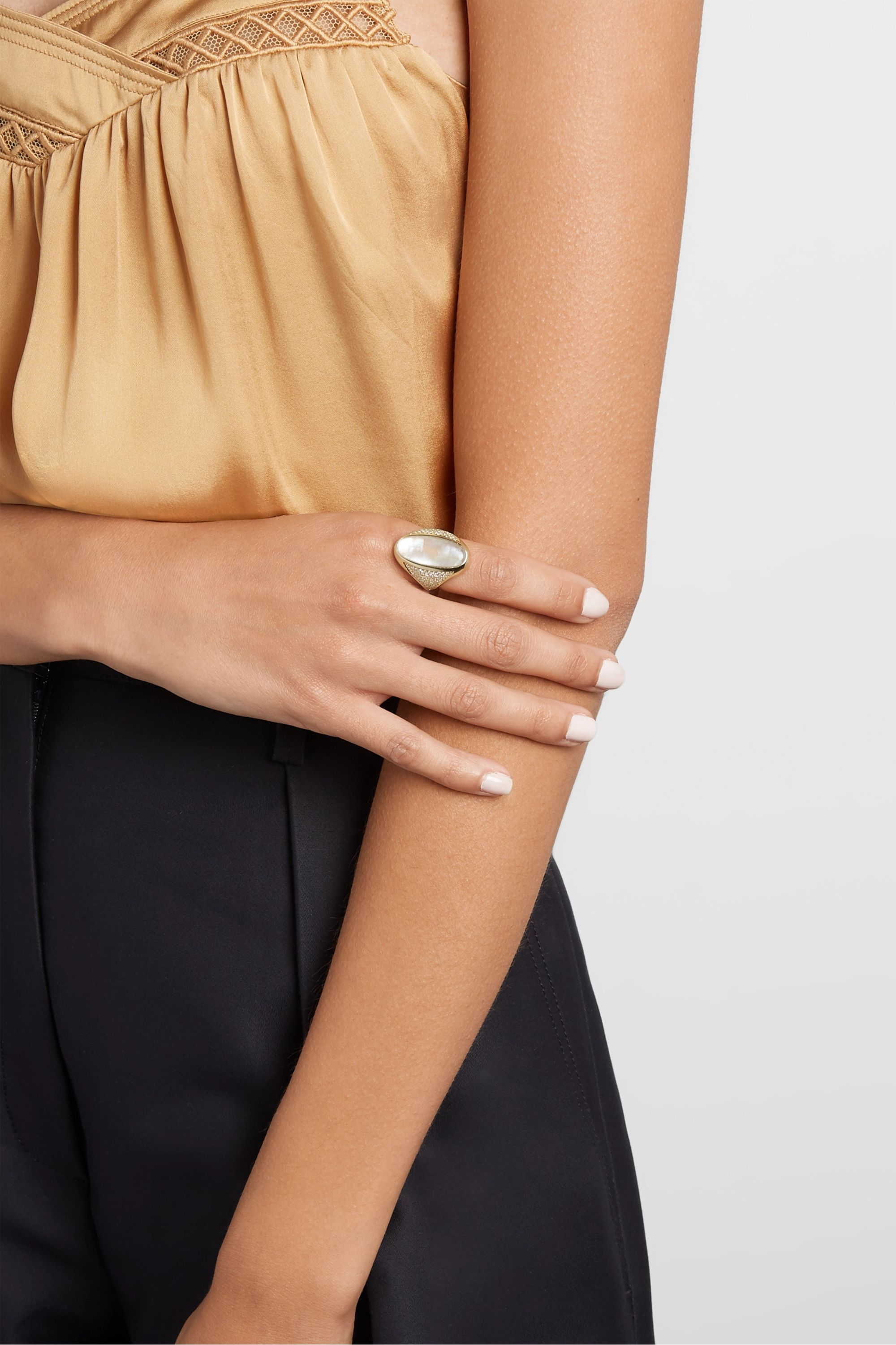 Jacquie Aiche 14-karat gold moonstone and diamond ring