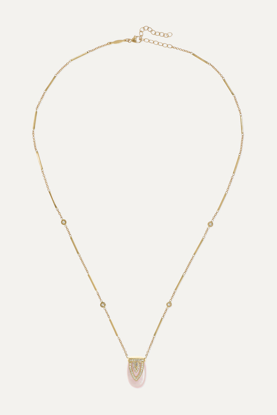 Jacquie Aiche Aladdin 14-karat gold, mother-of-pearl and diamond necklace