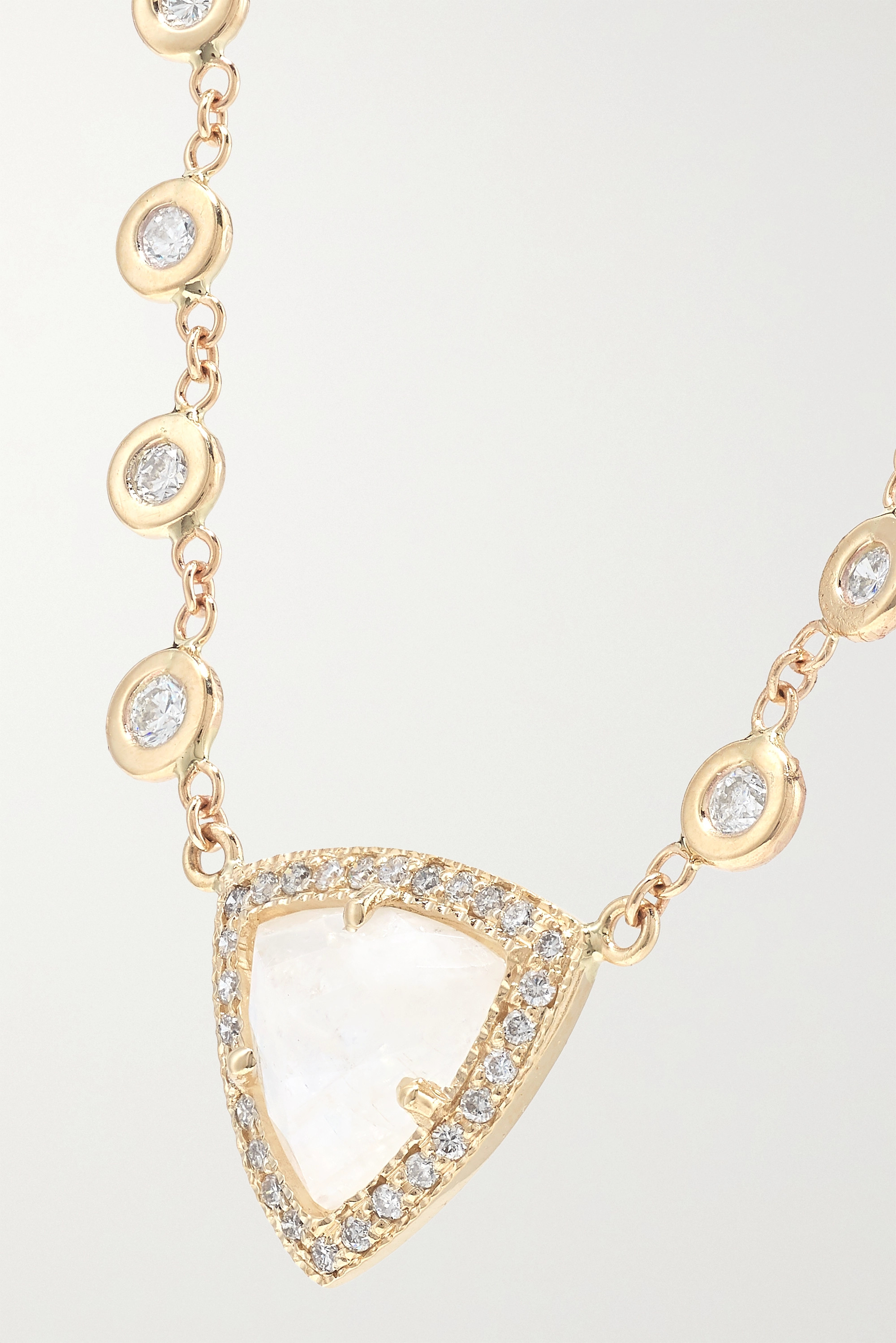 Jacquie Aiche Emily 14-karat gold, moonstone and diamond necklace