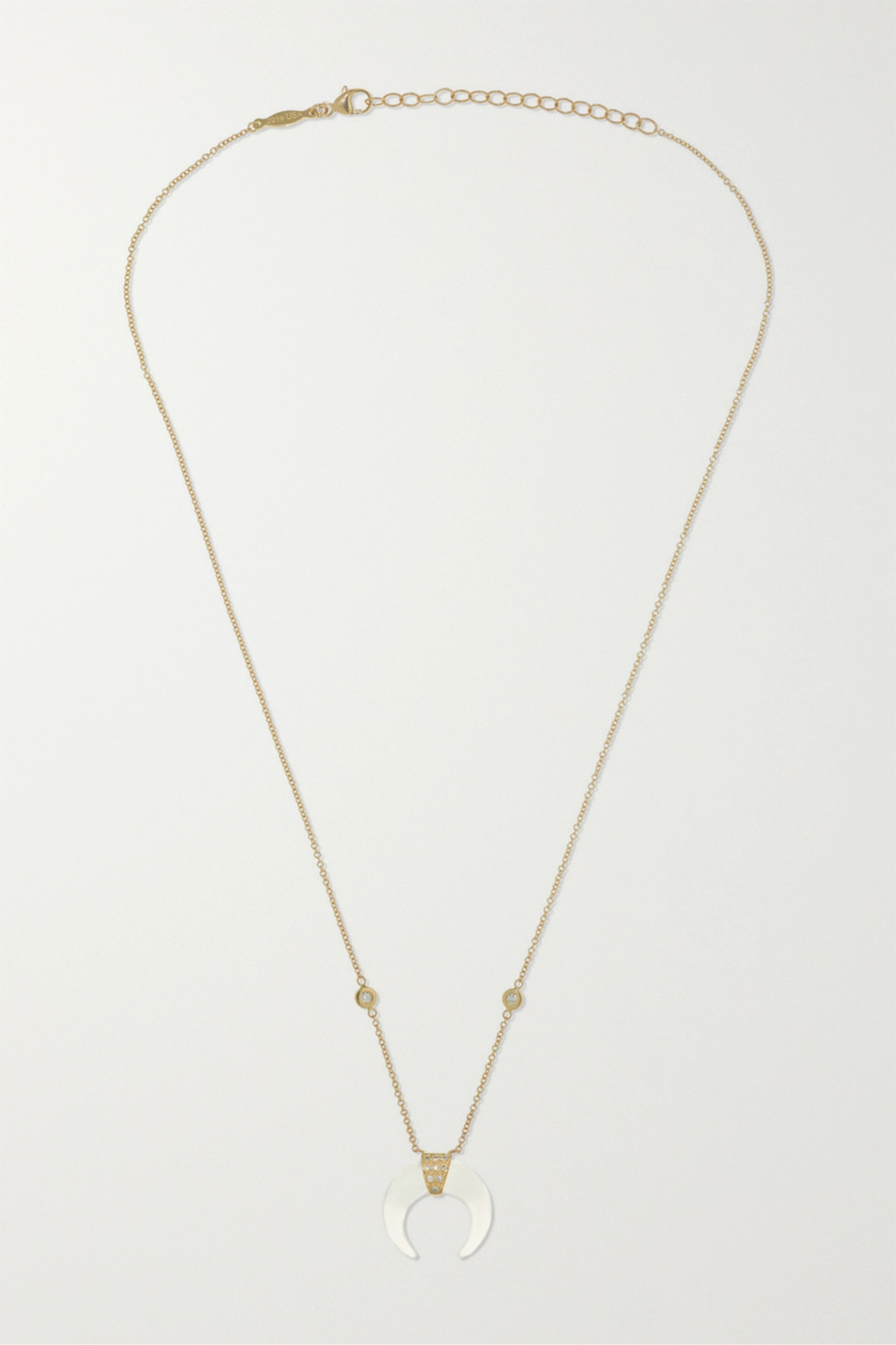 Jacquie Aiche Mini Double Horn 14-karat gold, moonstone and diamond necklace