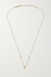 Mini Double Horn 14-karat gold, moonstone and diamond necklace