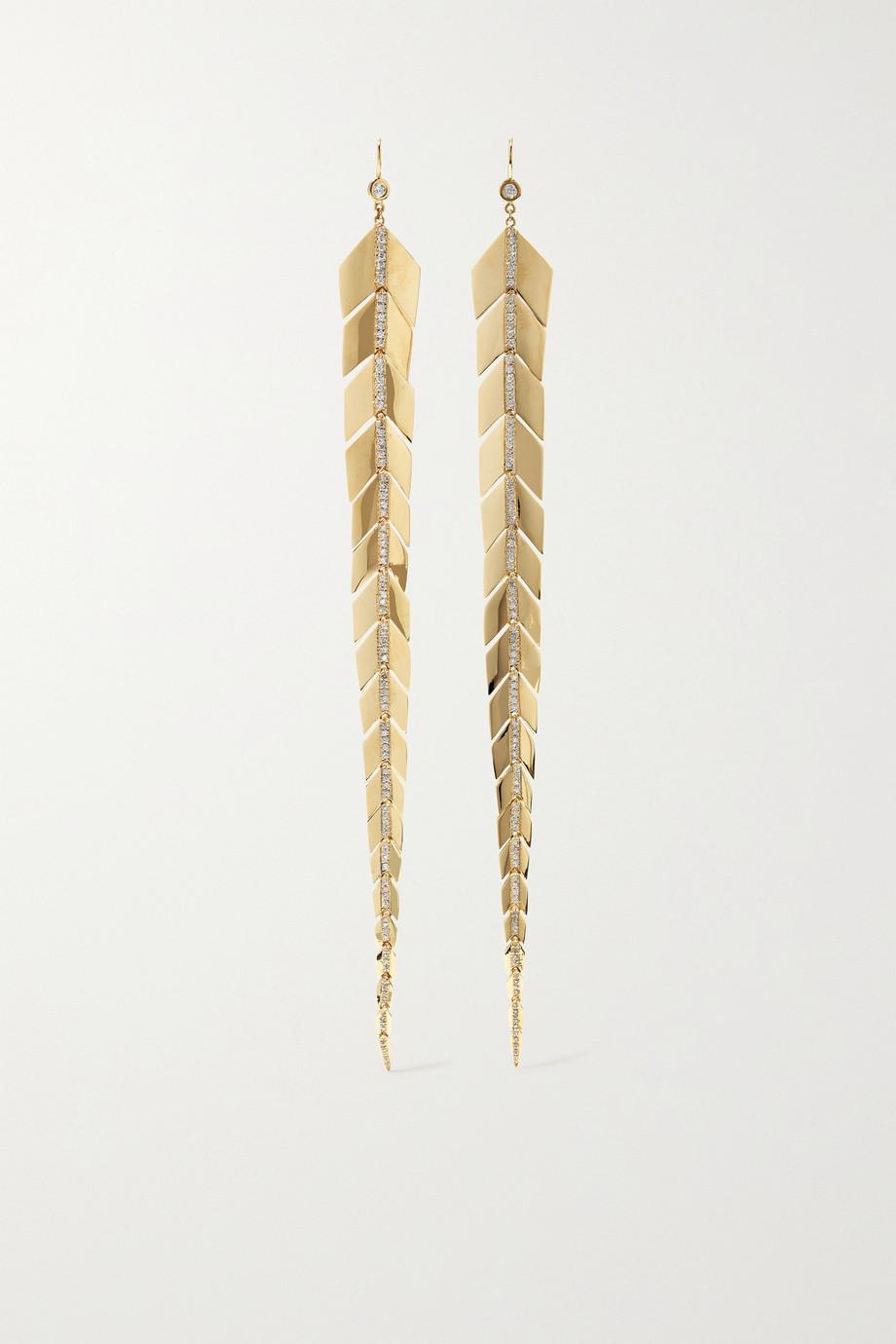 Jacquie Aiche Extra Large Fishtail 14-karat gold diamond earrings