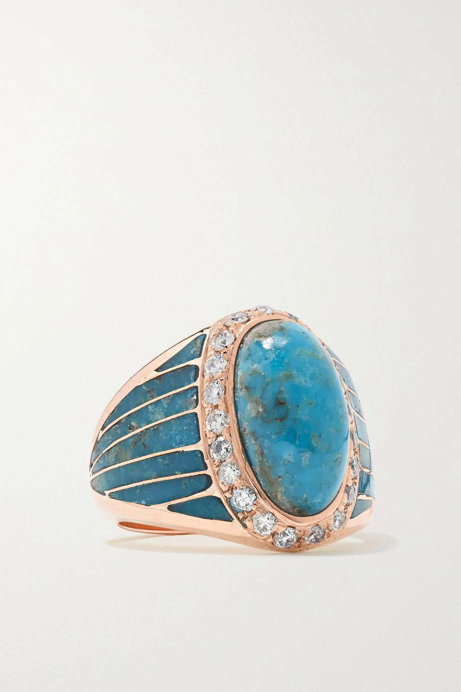 Jacquie Aiche 14-karat rose gold, turquoise and diamond ring