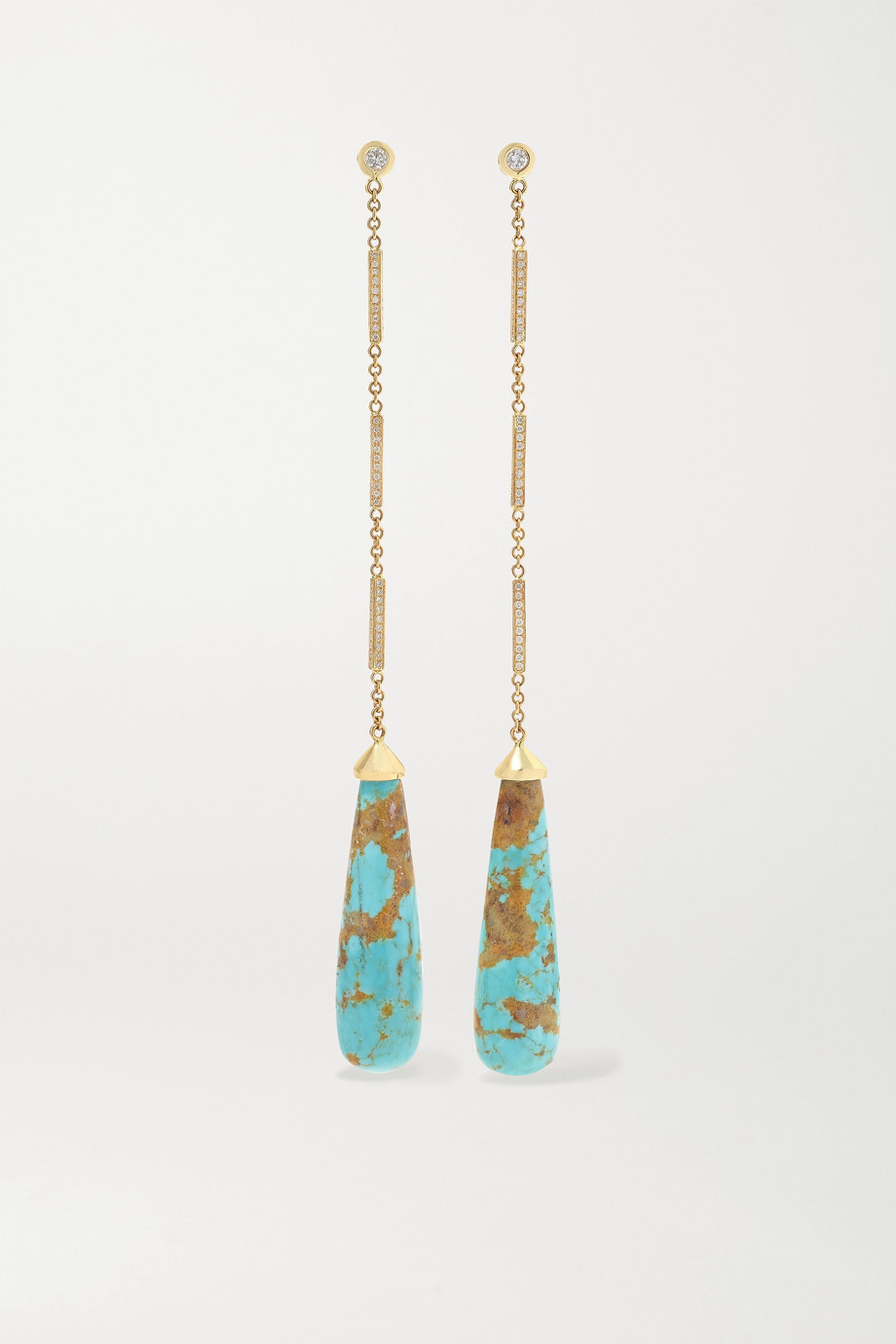 Jacquie Aiche 14-karat gold, turquoise and diamond earrings