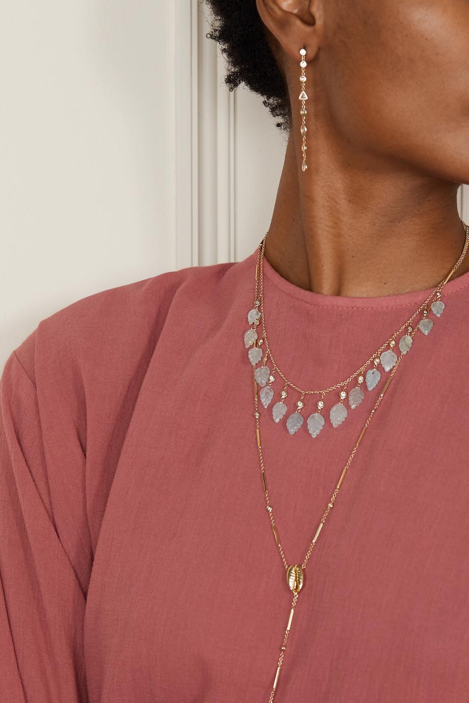 Jacquie Aiche 14-karat gold, aquamarine and diamond necklace