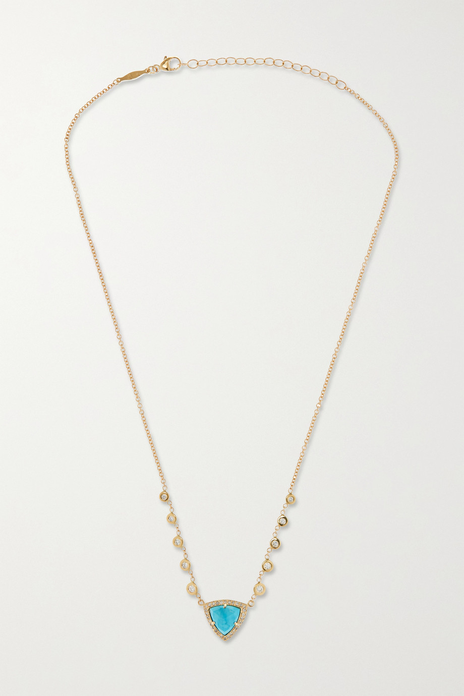 Jacquie Aiche Emily 14-karat gold, turquoise and diamond necklace