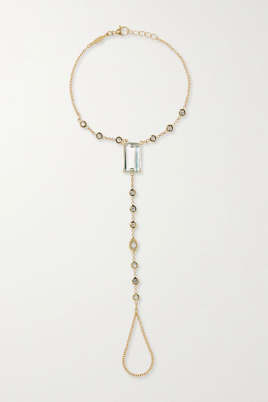 Jacquie Aiche 14-karat gold aquamarine and diamond finger bracelet