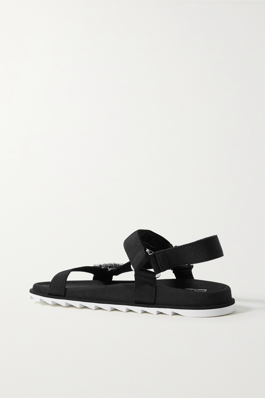 Roger Vivier Slidy Espa crystal-embellished grosgrain and suede sandals