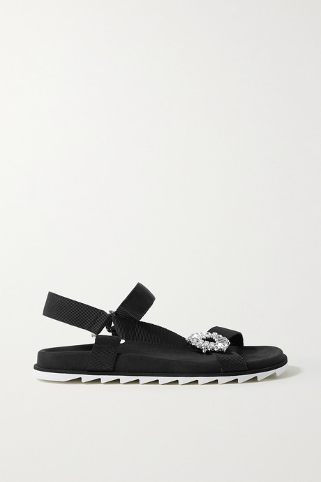 Black Slidy Espa crystal-embellished grosgrain and suede sandals | Roger Vivier qdBPla