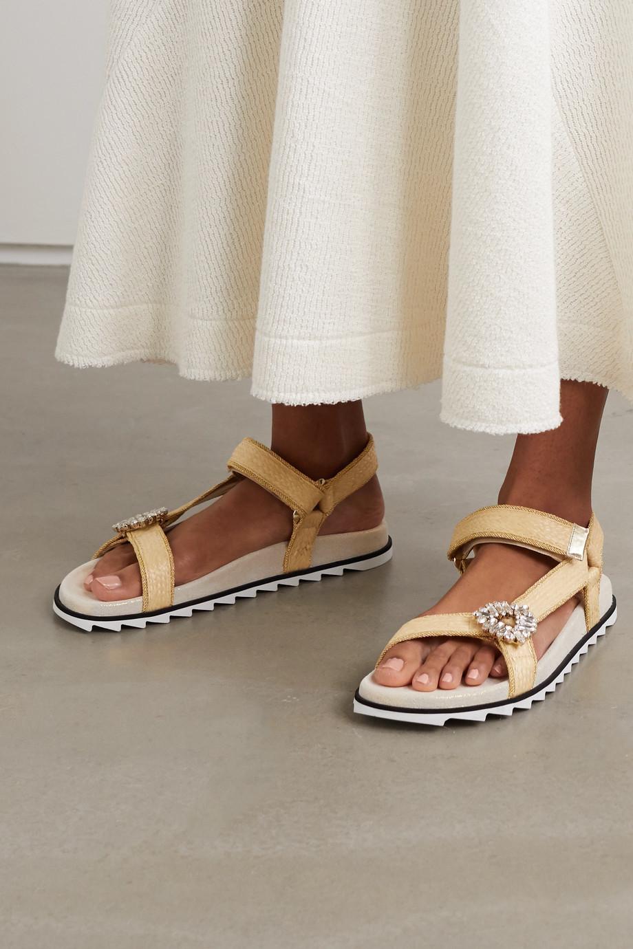 Roger Vivier Slidy Espa crystal-embellished raffia sandals