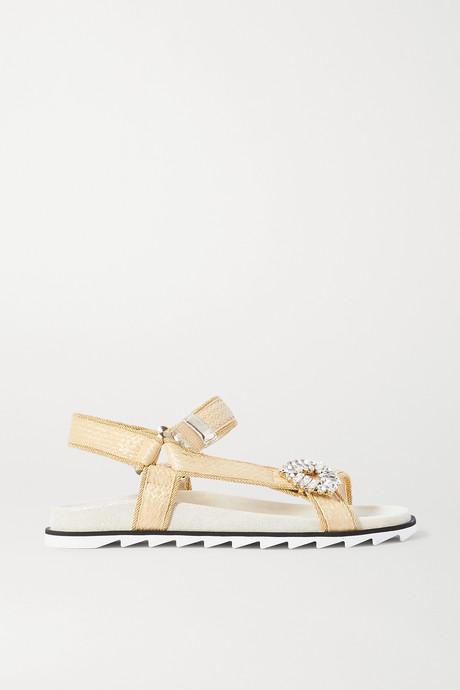 Gold Slidy Espa crystal-embellished raffia sandals | Roger Vivier IYKf1g