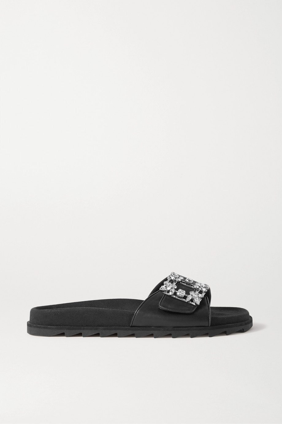 Roger Vivier Slidy crystal-embellished leather slides
