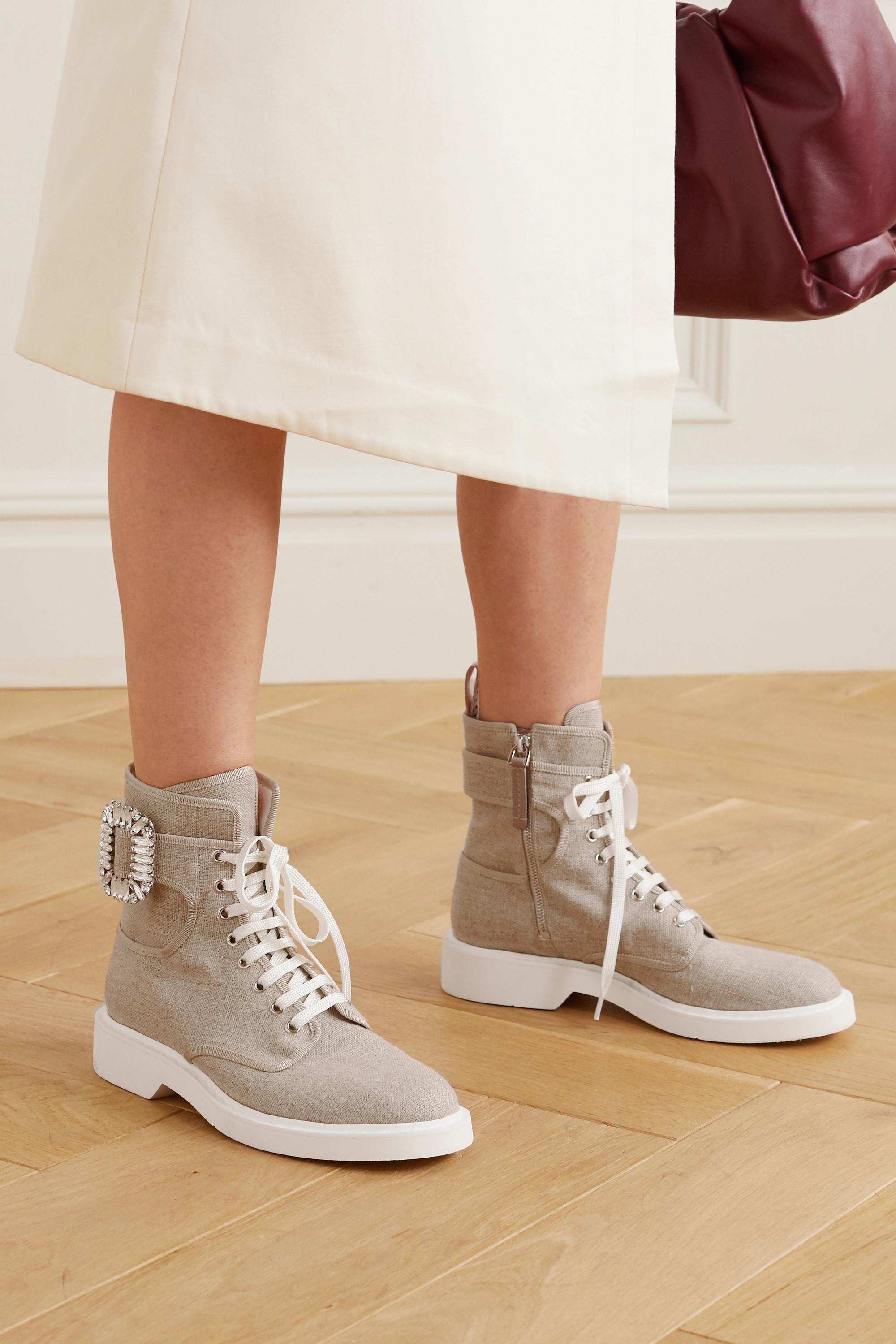 Roger Vivier Viv Ranger crystal-embellished canvas ankle boots