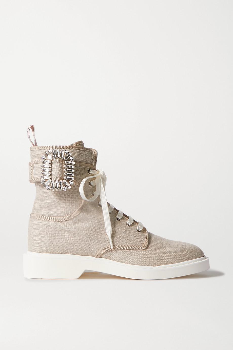 Roger Vivier Viv Ranger 水晶缀饰帆布踝靴