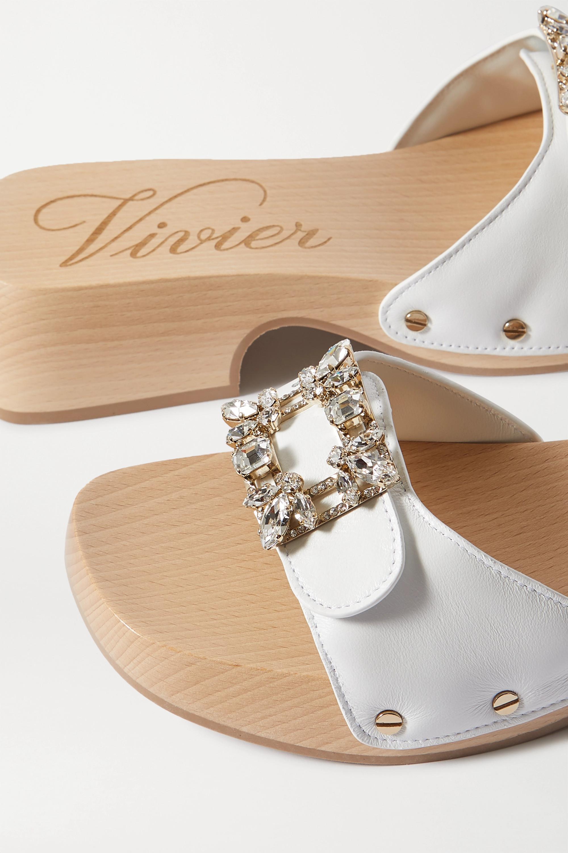 Roger Vivier Viv crystal-embellished leather mules