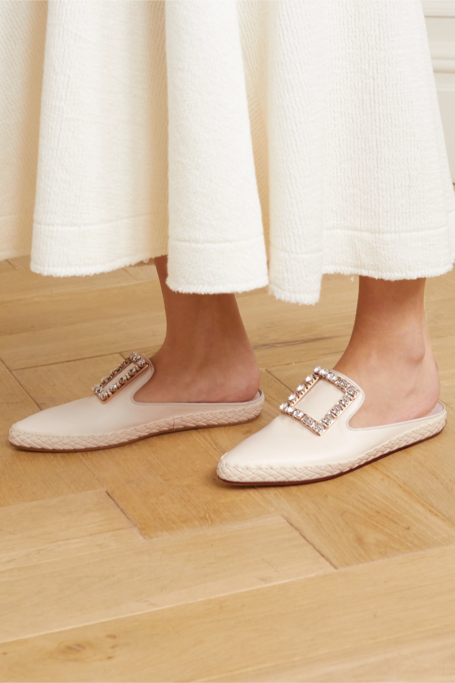 Roger Vivier RV Lounge crystal-embellished leather slippers