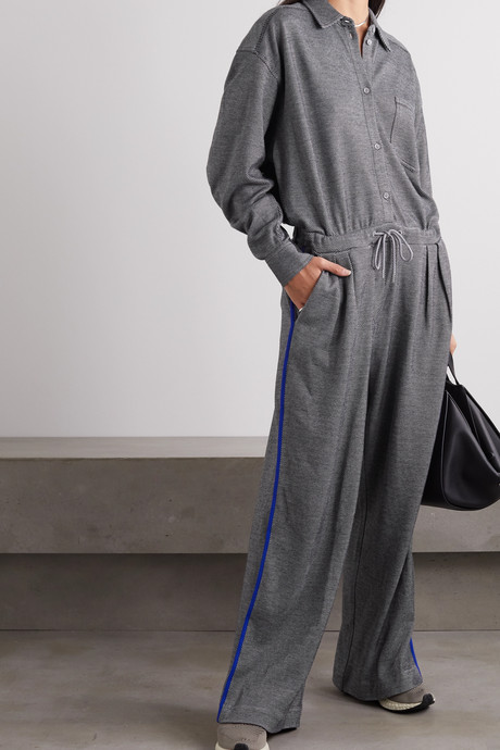 + NET SUSTAIN striped organic cotton-blend jacquard jumpsuit