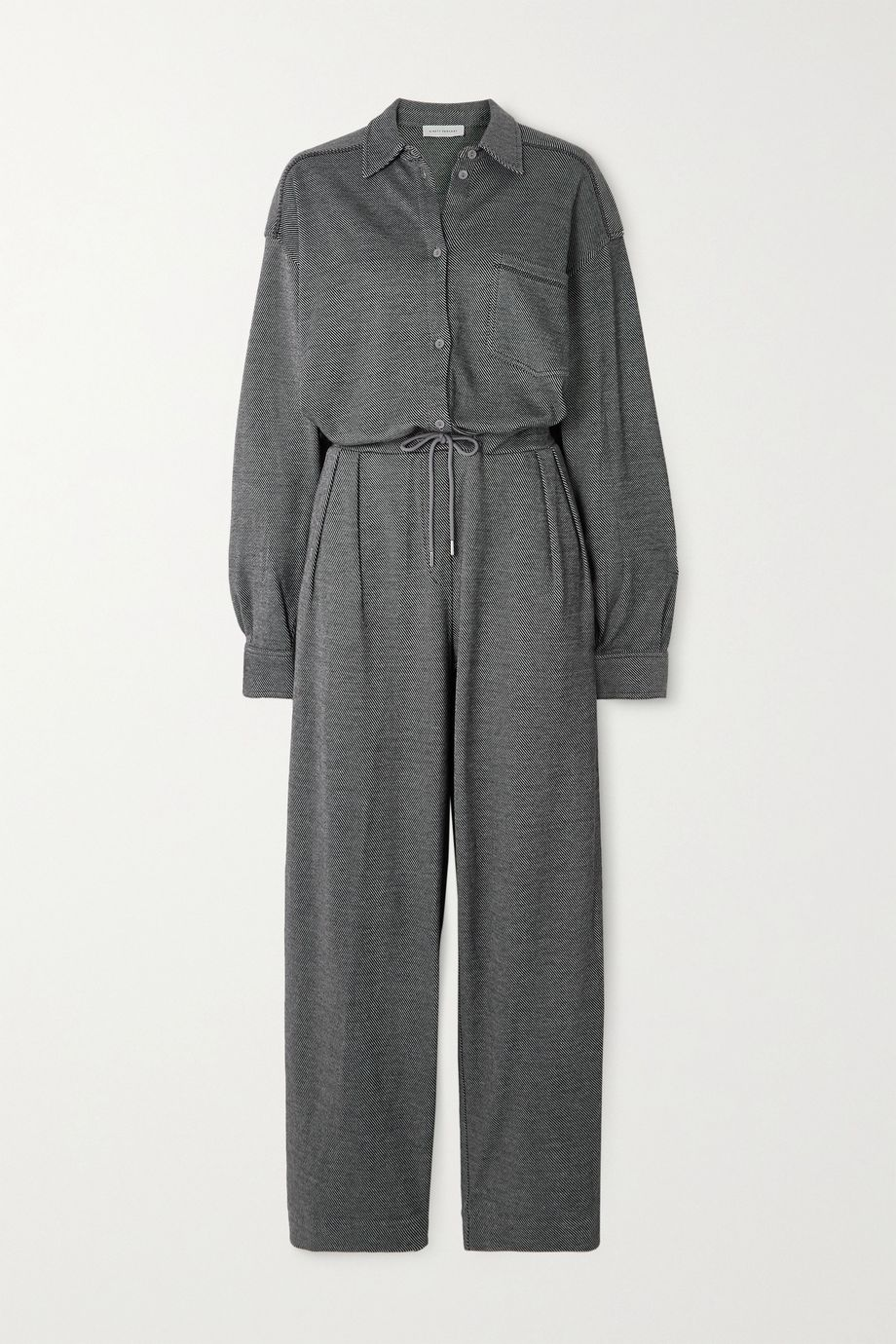 Ninety Percent + NET SUSTAIN striped organic cotton-blend jacquard jumpsuit